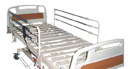 Metal framing electric bed with side safety rail.